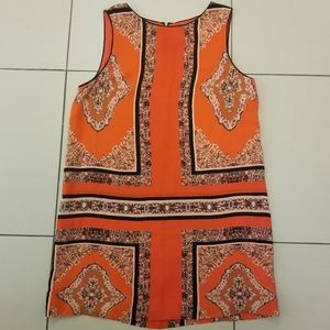 Anthropologie Maeve silk navy & orange dress sz 12